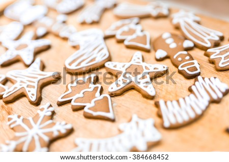 Decorated various  gingerbread cakes #384668452
