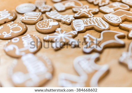 Decorated various  gingerbread cakes #384668602