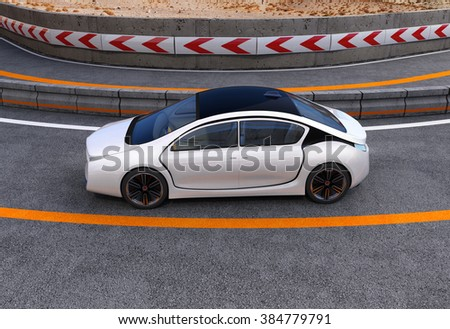 White electric car on highway. 3D rendering image. #384779791