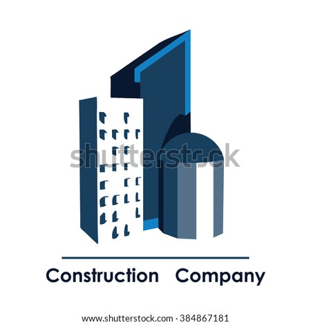 Construction and build logo. Vector illustration of high-rise buildings, downtown. Creative graphic design logo element. Isolated on white background. #384867181