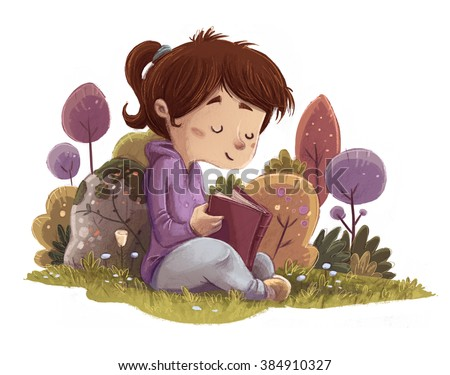 child reading a book in the field