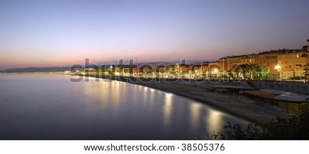 France, Nice :  Beach Panorama at night #38505376
