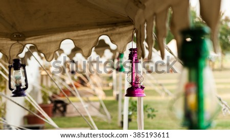 Colorful lamps with tents in India #385193611