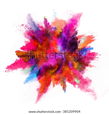 Explosion of colored powder on white background Royalty-Free Stock Photo #385209904