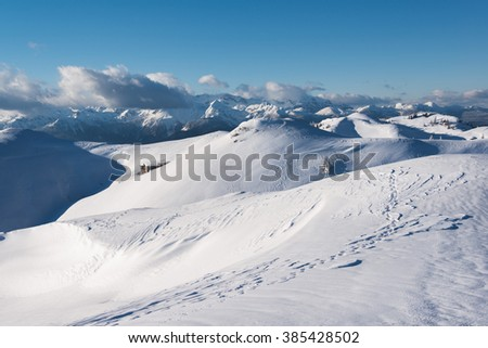 Winter landscape in the high mountains #385428502