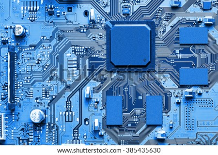 Electronic circuit board close up. Royalty-Free Stock Photo #385435630