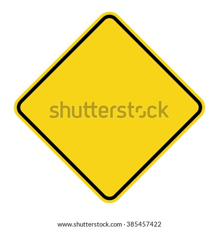 Blank Yellow Sign. Empty square warning symbol isolated on white background. Priority road icon. Traffic sign. Stock Illustration #385457422