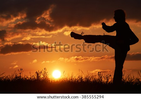 Man practicing karate on the grassy horizon at sunset. Karate kick leg. Art of self-defense. Silhouette on a background of dramatic clouds at sunset. #385555294