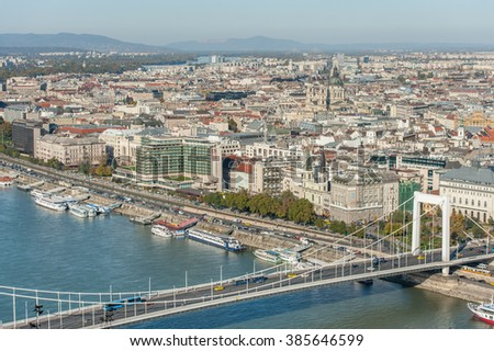 BUDAPEST, HUNGARY - OCTOBER 27, 2015: Landscape of Danube River and Budapest City Dock from Citadella, Hungary. #385646599