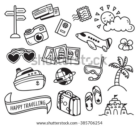travel themed doodle isolated on white background