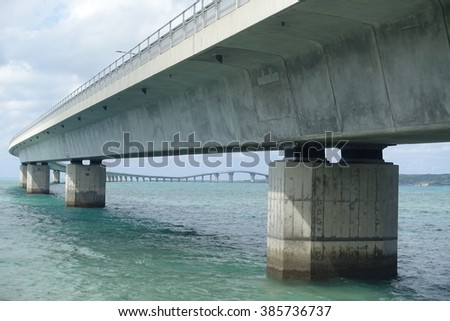 close up of Irabu bridge lower view from Miyako-island shore towards Irabu-island #385736737
