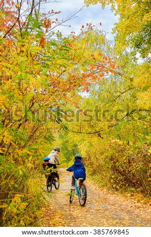 Family on bikes in autumn park, father and kids cycling, active family sport outdoors, vertical image  #385769845