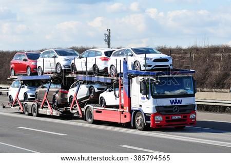 FRANKFURT,GERMANY - FEBR 25: NETTO truck on the highway on February 25,2016 in Frankfurt, Germany. #385794565