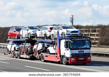FRANKFURT,GERMANY - FEBR 25:  truck on the highway on February 25,2016 in Frankfurt, Germany. #385794604