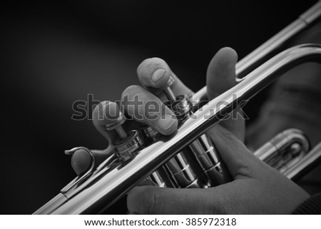 Hands of the man playing the trumpet #385972318