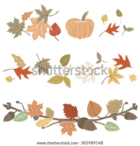 Hand Drawn Cute Fall Foliage with Autumn Leaves and Pumpkin