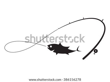 clip art black fishing on white background