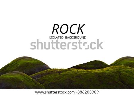 Moss grow on sea rock and white background. Beautiful green cliff and material detail. #386203909