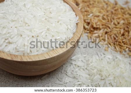 Raw rice grain #386353723