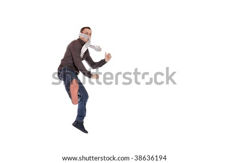 A handsome young man jumping  isolated on white #38636194