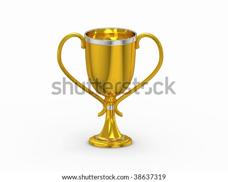 3d gold winning cup isolated on white #38637319