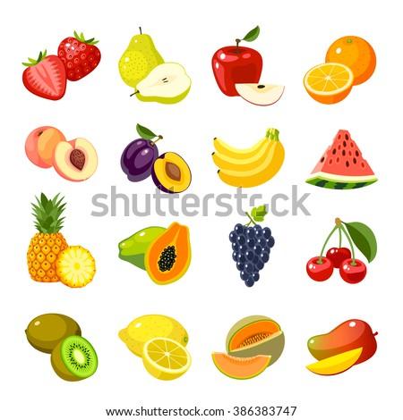 Set of colorful cartoon fruit icons: apple, pear, strawberry, orange, peach, plum, banana, watermelon, pineapple, papaya, grapes, cherry, kiwi, lemon, mango. Vector illustration, isolated on white. Royalty-Free Stock Photo #386383747