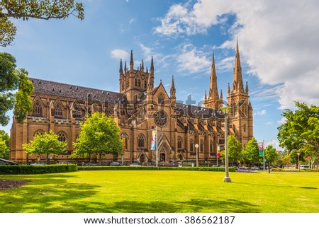 SYDNEY, AUSTRALIA - NOVEMBER 11, 2014: View of the St Mary's Cathedral in a nice sunny day, Sydney. The Metropolitan Cathedral of St Mary is the church of the Roman Catholic Archdiocese of Sydney. #386562187