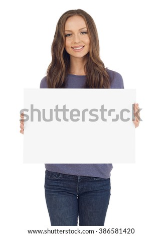 Young woman with banner #386581420