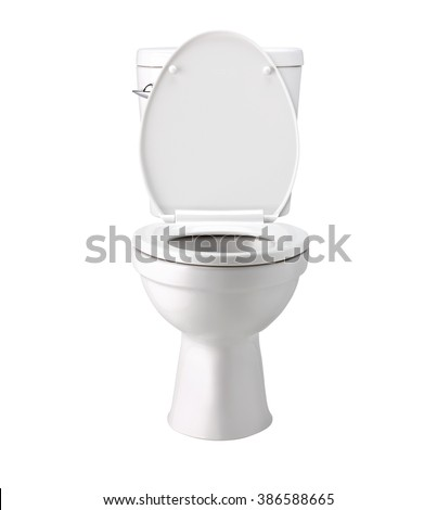 White toilet bowl bowl in a bathroom, isolated on white, photo image with clip path #386588665