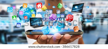 Businessman connecting tech devices and cyberspace applications #386617828