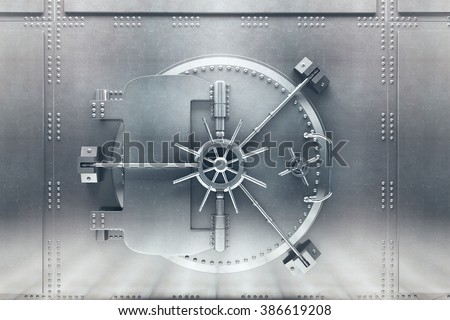 Front  view of light silver bank vault door, closed. 3D Render Royalty-Free Stock Photo #386619208