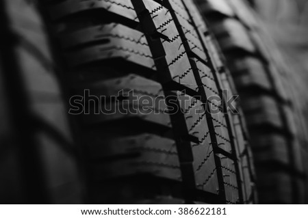 Black and white photography of tyre ot tire tread