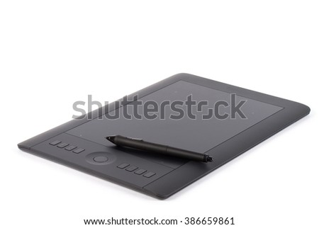 Graphic tablet with pen for illustrators and designers, isolated on white background. #386659861