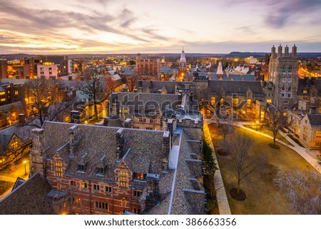 Historical building and Yale university campus in downtown New Haven CT, USA #386663356