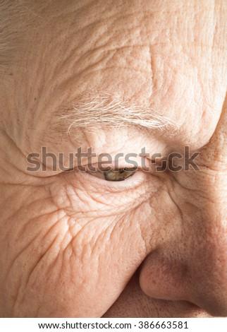 Portrait of elderly woman. Closeup view. Toned. #386663581