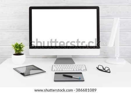 Monitor Space Web Design Empty White Template - Stock Image