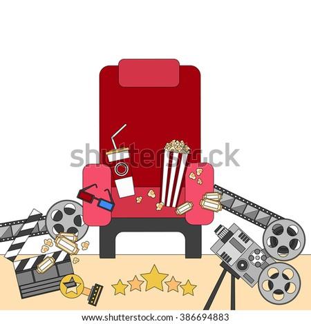 Cinema Chair Film Movie Seat Popcorn Flat Vector Illustration #386694883