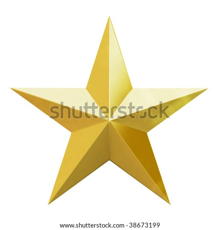 Gold Christmas star. 3d render with HDR #38673199