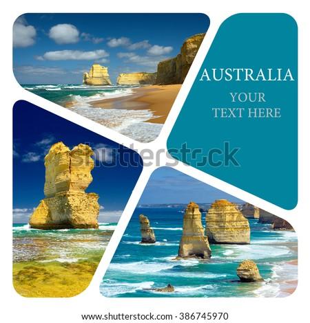 Landmarks Australia. Great Ocean Road and 12 Apostles. Travel concept. Photo collage