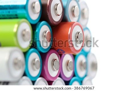 Several AA batteries in perspective closeup view on white background #386769067