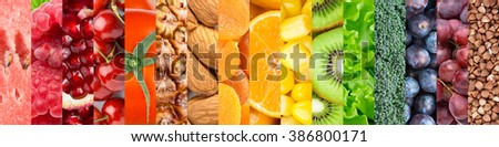 Healthy food background. Collection with different fruits, vegetables and healthy eating #386800171