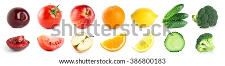 Fruits and vegetables on white background. Healthy food #386800183