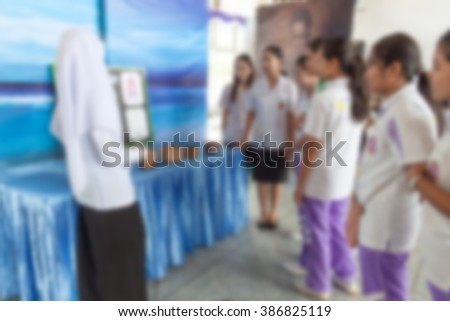 blurred blur medicine students school  explain on learning discussing their friends  at the university #386825119