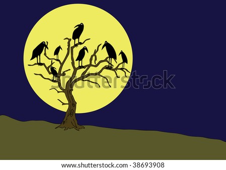 ravens on the rampike at night - vector #38693908