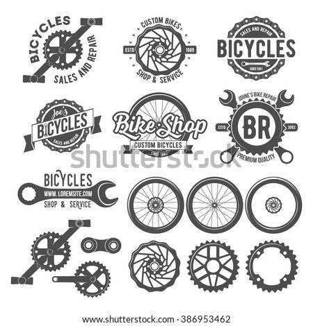 Set of vintage and modern bike shop logo badges and labels. Cycle wheel isolated vector. Old style bicycle shop and repair logotypes