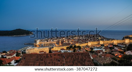 Old Town of Dubrovnik in the evening, Croatia #387047272