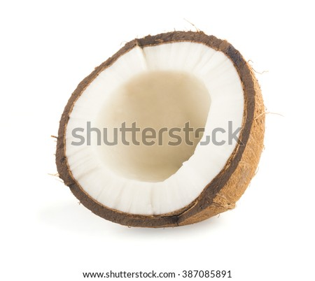 coconut cut in half on white background #387085891