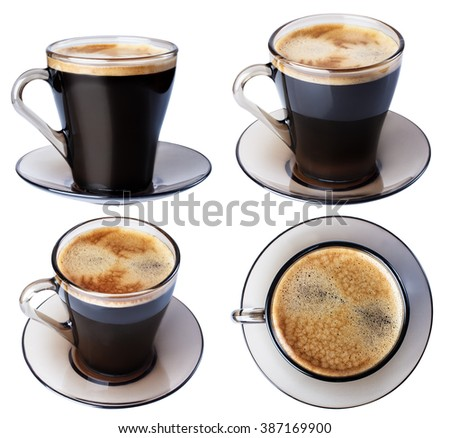 Espresso coffee in a glass dish, isolate on a white background, closeup in a variety of ways. #387169900