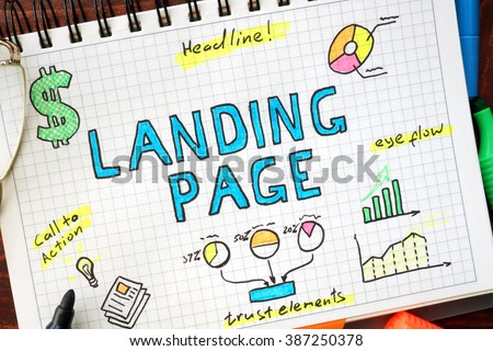 Landing page written in a notebook. SEO concept. #387250378