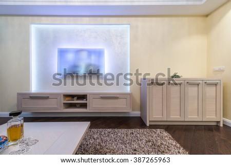 TV shelf in modern home interior #387265963